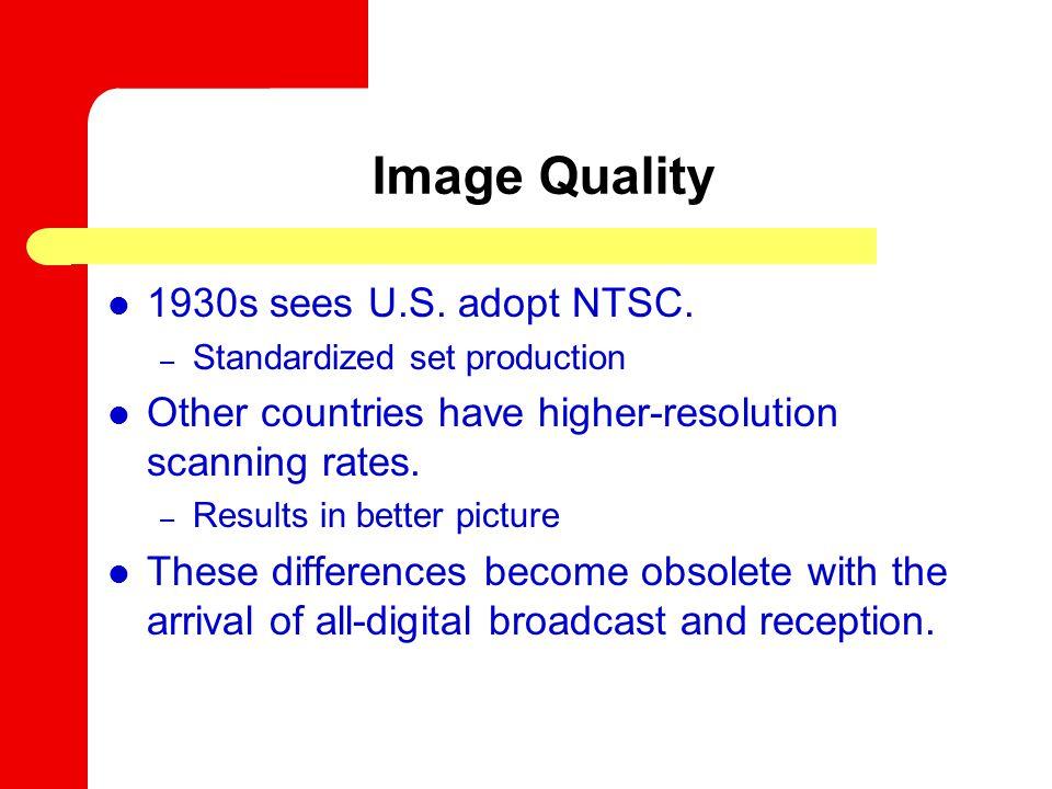 Image Quality 1930s sees U.S. adopt NTSC.