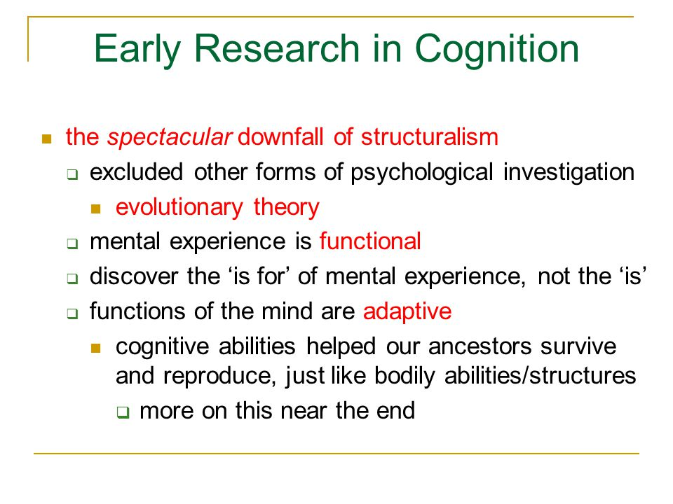 Evidence for Embodied Cognition 2: basic level categories  take furniture-chair-rocking chair furniture – superordinate category chair – basic level category rocking chair – subordinate category  basic level objects are recognized faster and learned before and more easily than the other two types of categories  why?