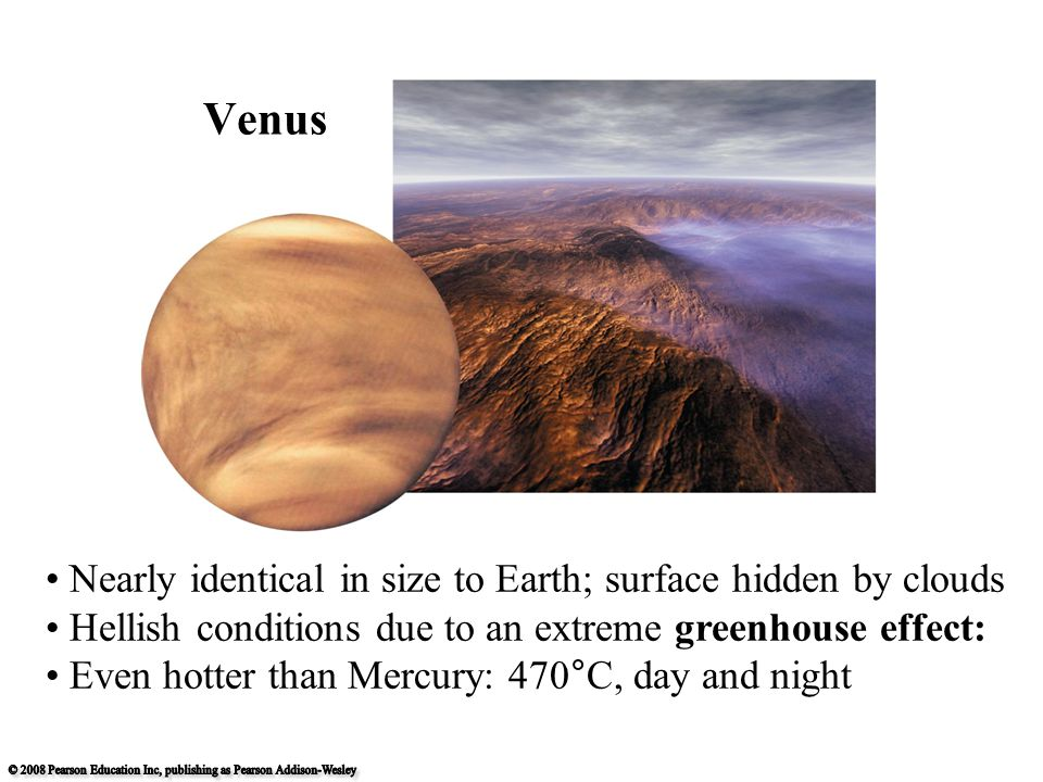 Nearly identical in size to Earth; surface hidden by clouds Hellish conditions due to an extreme greenhouse effect: Even hotter than Mercury: 470°C, day and night Venus