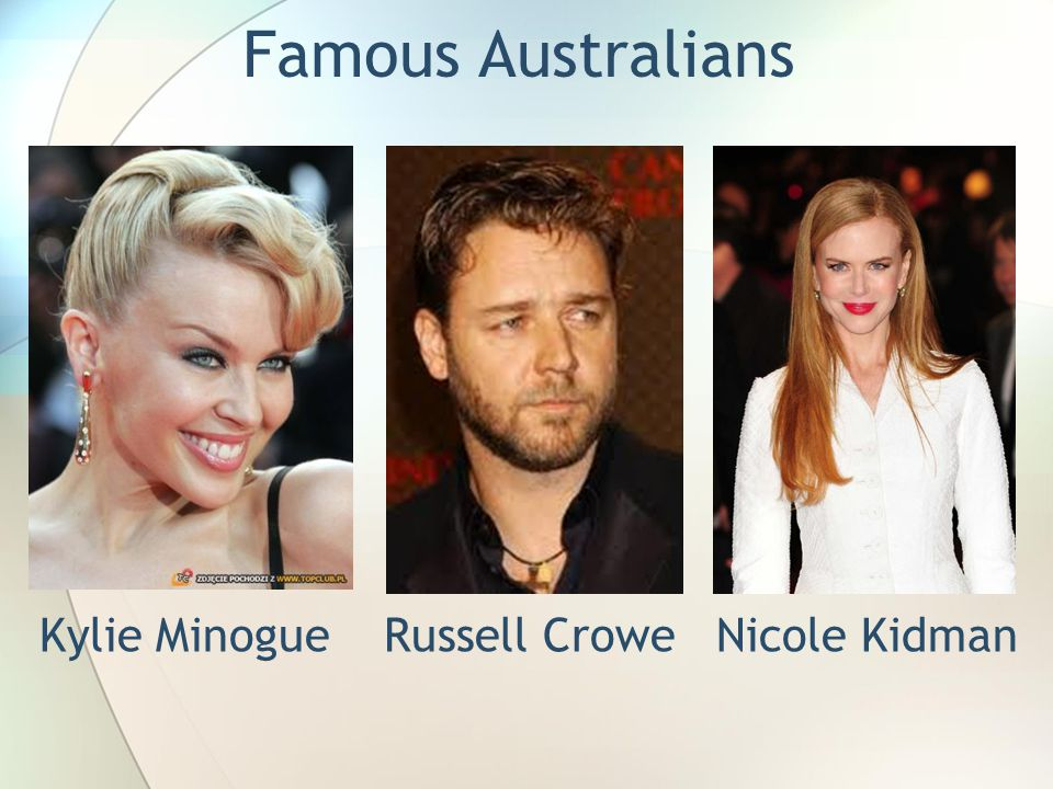 Famous Australians Kylie Minogue Russell Crowe Nicole Kidman