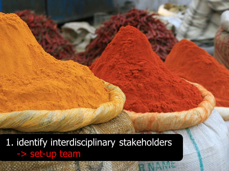 1. identify interdisciplinary stakeholders -> set-up team