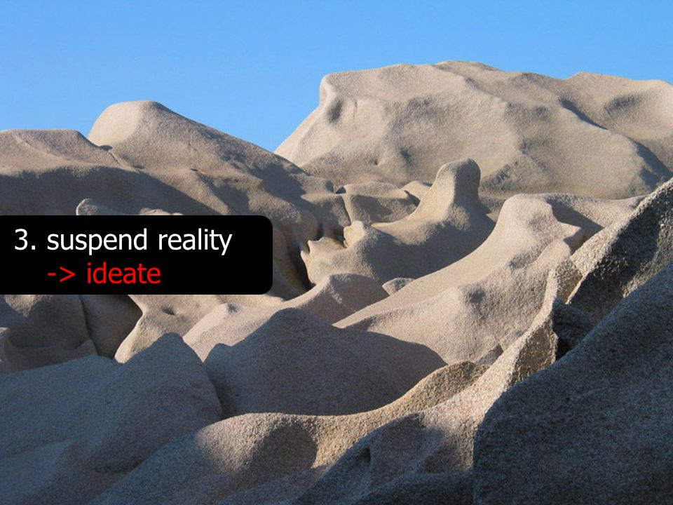 3.suspend reality -> ideate