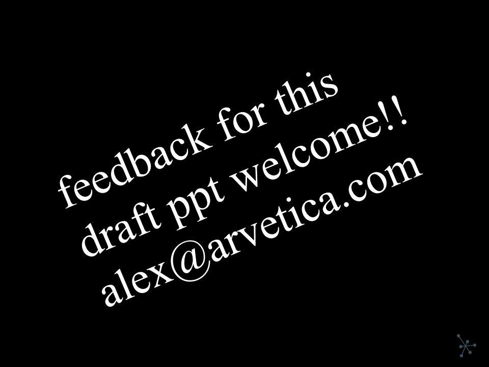 feedback for this draft ppt welcome!! alex@arvetica.com