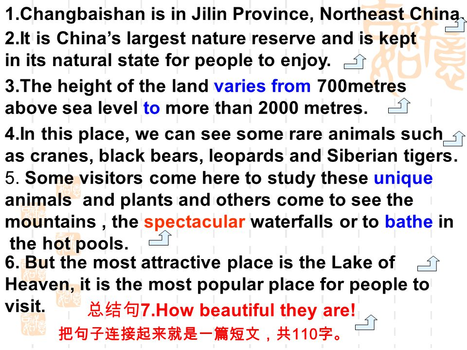 1.Changbaishan is in Jilin Province, Northeast China.