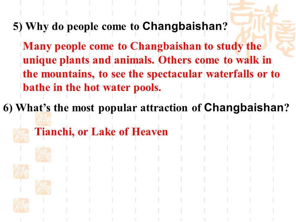 5) Why do people come to Changbaishan .