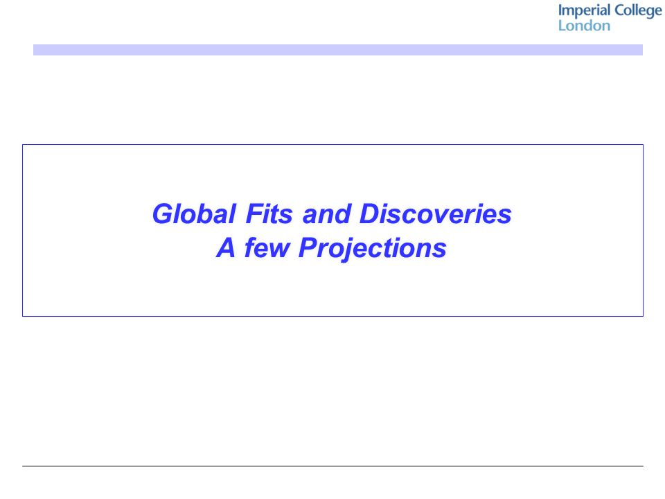 Global Fits and Discoveries A few Projections