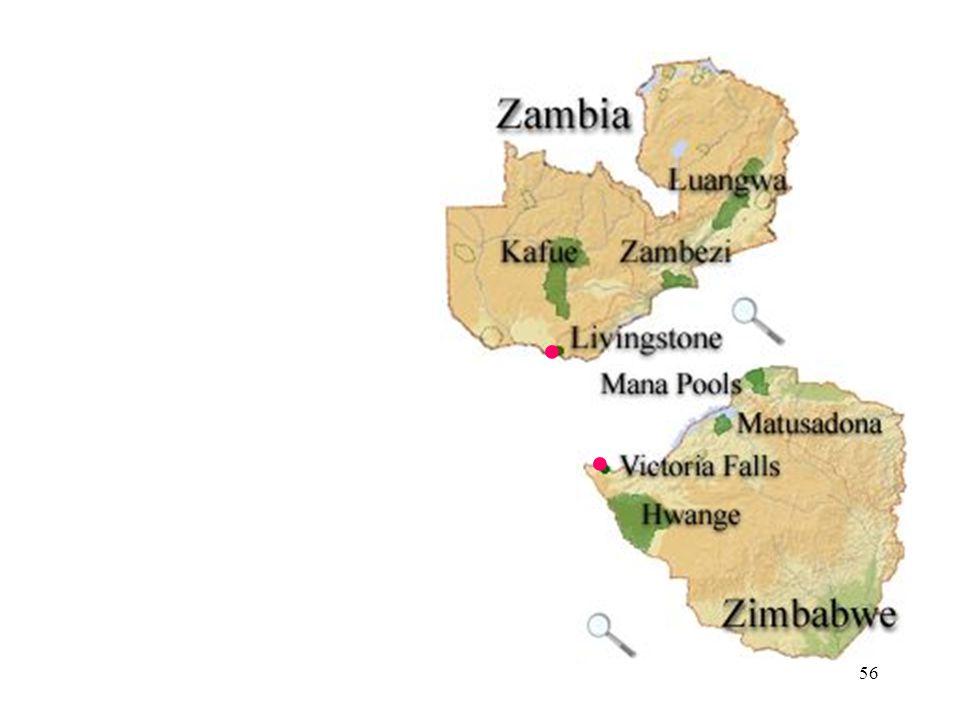 55 ● ● Victoria Falls stretch across the Zambezi River between Zimbabwe and Zambia.