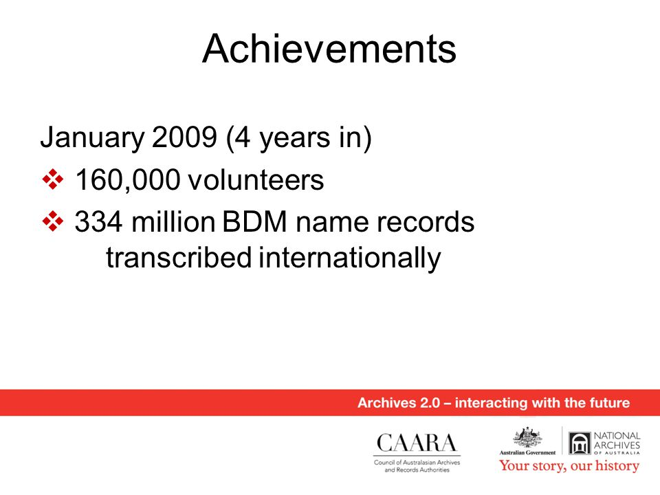 Achievements January 2009 (4 years in)  160,000 volunteers  334 million BDM name records transcribed internationally