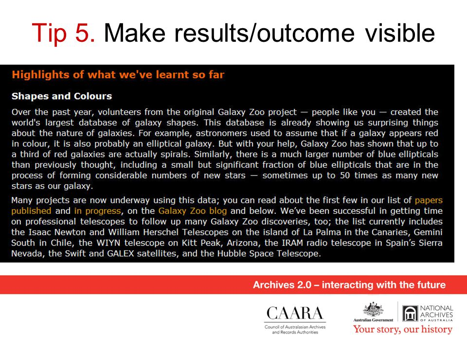 Tip 5. Make results/outcome visible