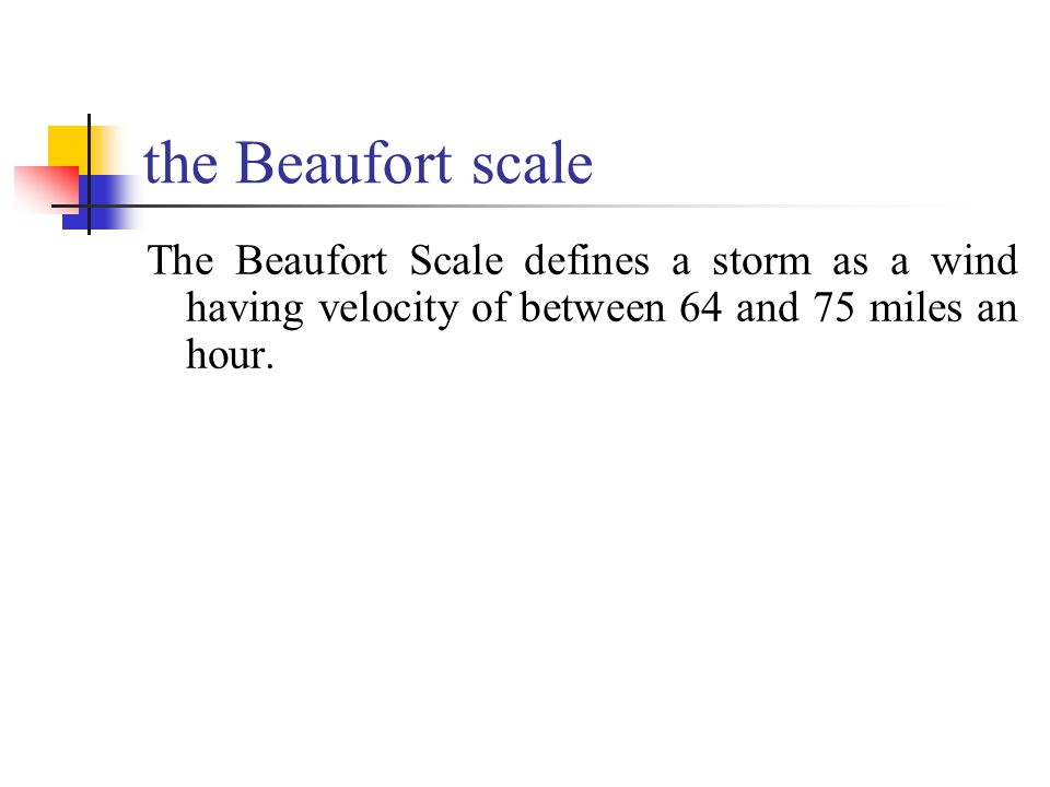 the Beaufort scale The Beaufort Scale defines a storm as a wind having velocity of between 64 and 75 miles an hour.