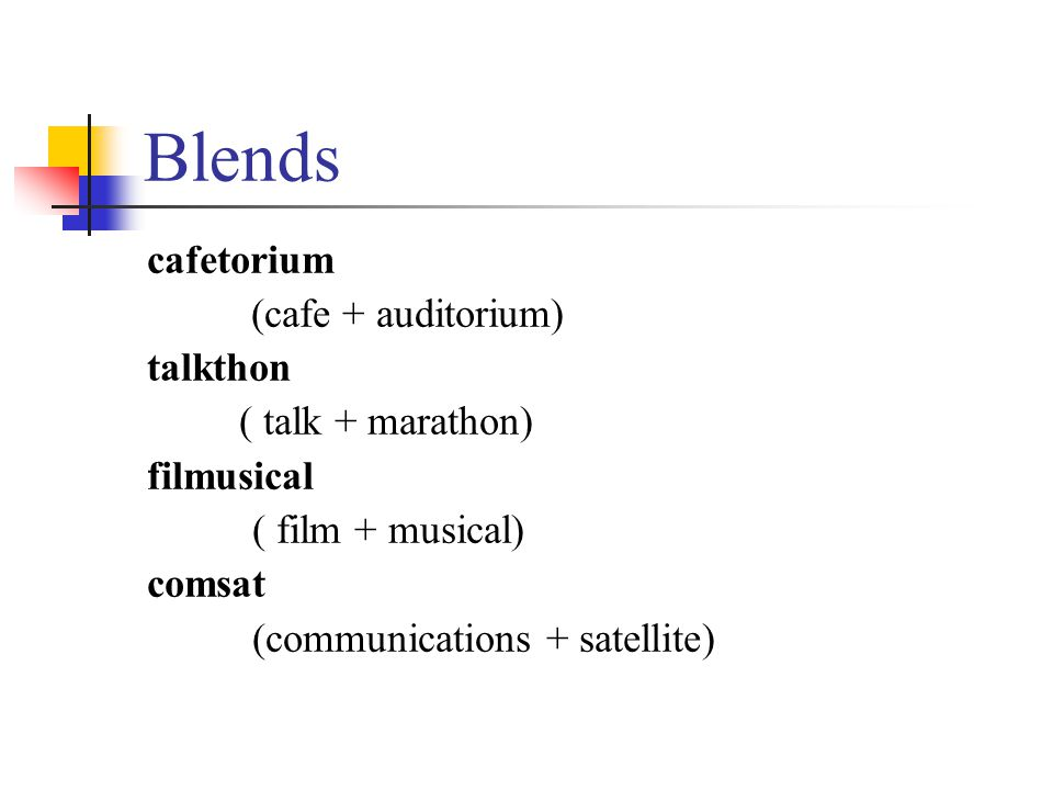 Blends cafetorium (cafe + auditorium) talkthon ( talk + marathon) filmusical ( film + musical) comsat (communications + satellite)