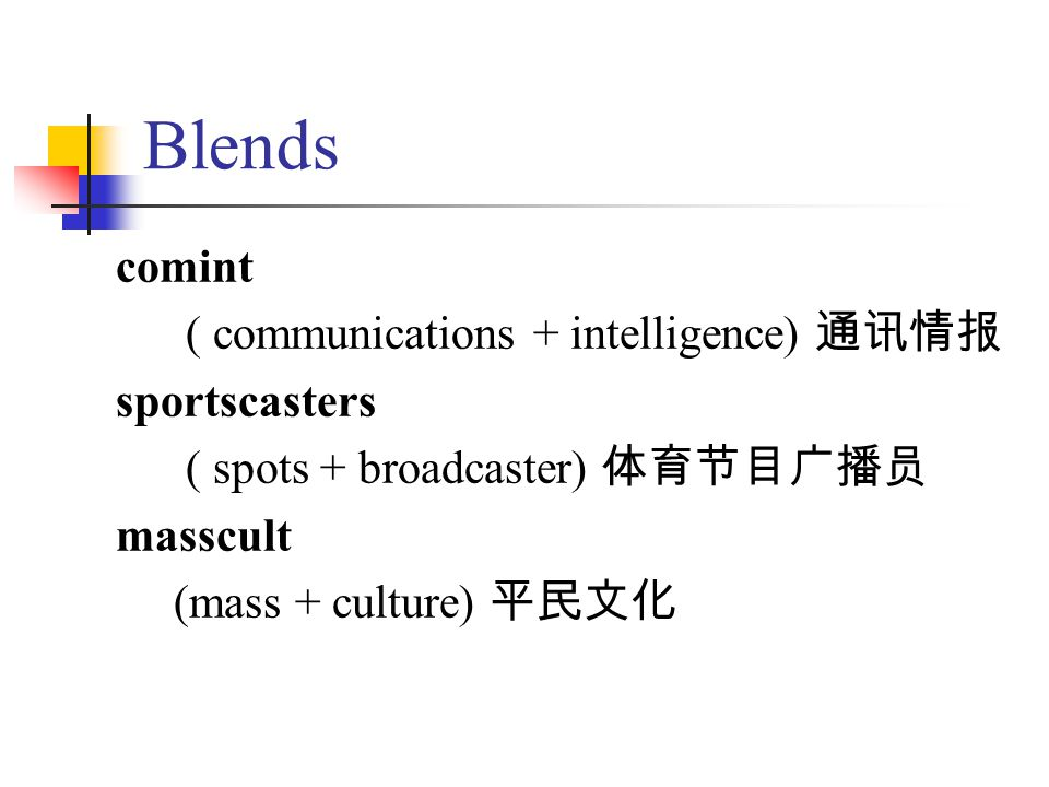 Blends comint ( communications + intelligence) 通讯情报 sportscasters ( spots + broadcaster) 体育节目广播员 masscult (mass + culture) 平民文化