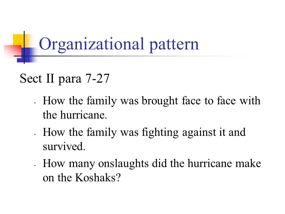 Organizational pattern Sect II para 7-27 - How the family was brought face to face with the hurricane. - How the family was fighting against it and su