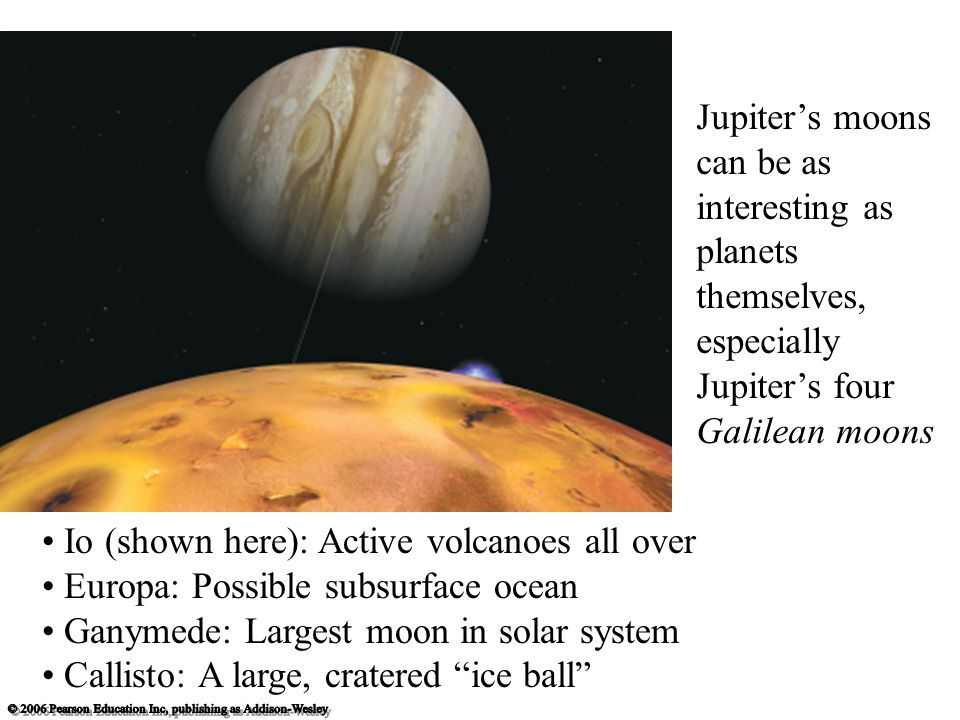 Jupiter's moons can be as interesting as planets themselves, especially Jupiter's four Galilean moons Io (shown here): Active volcanoes all over Europa: Possible subsurface ocean Ganymede: Largest moon in solar system Callisto: A large, cratered ice ball
