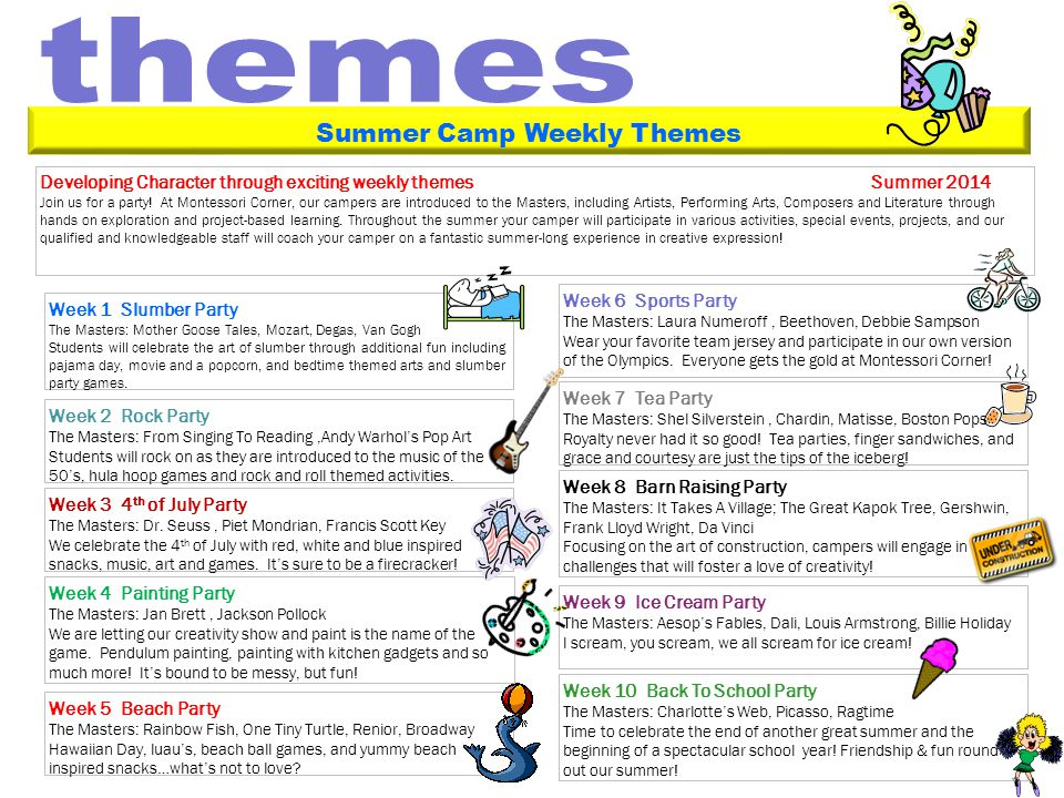 Developing Character through exciting weekly themes Summer 2014 Join us for a party.