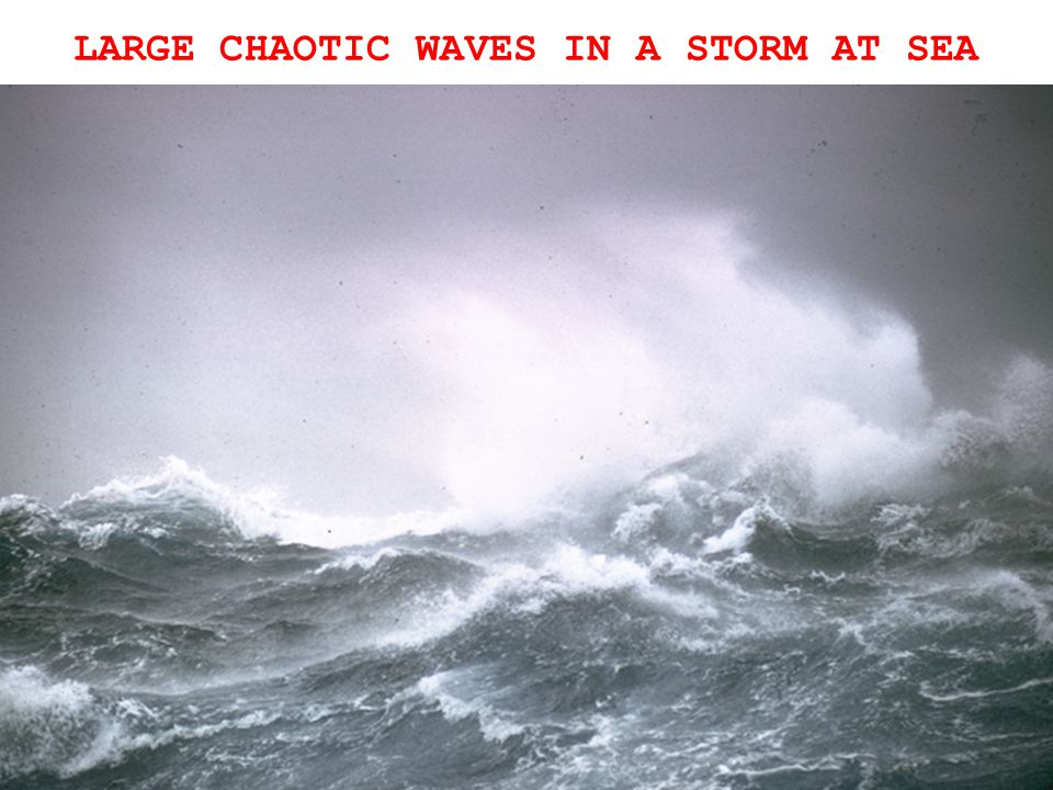 LARGE CHAOTIC WAVES IN A STORM AT SEA