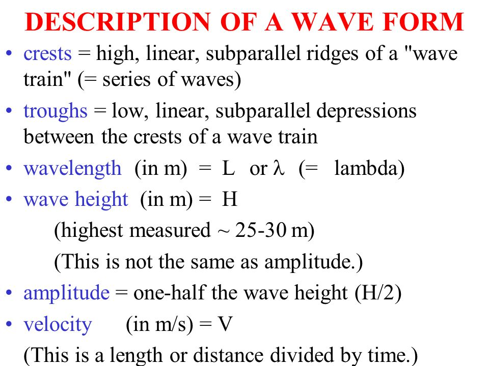 PERIOD & FREQUENCY OF A WAVE seconds period = time of a wave = T or P = ------------- # of waves frequency = # of waves per second = F or f # of waves = -------------- = cycles per sec = Hertz = Hz seconds Note: period =1/frequency and frequency = 1/period