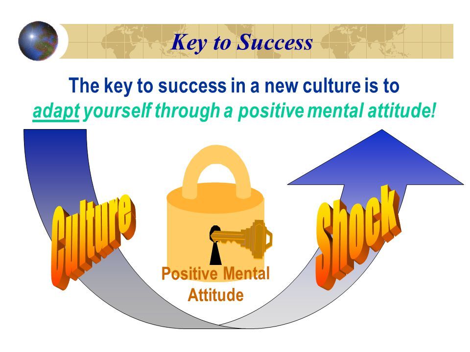 Key to Success The key to success in a new culture is to adapt yourself through a positive mental attitude.