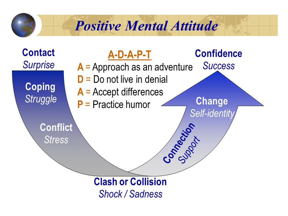 Positive Mental Attitude Contact Surprise Coping Struggle Conflict Stress Clash or Collision Shock / Sadness Connection Support Change Self-identity Confidence Success A = Approach as an adventure D = Do not live in denial A = Accept differences P = Practice humor A-D-A-P-T