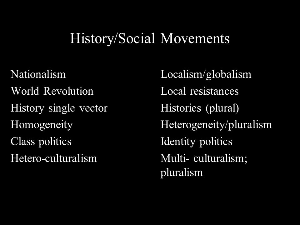 History/Social Movements NationalismLocalism/globalism World RevolutionLocal resistances History single vectorHistories (plural) HomogeneityHeterogeneity/pluralism Class politicsIdentity politics Hetero-culturalismMulti- culturalism; pluralism