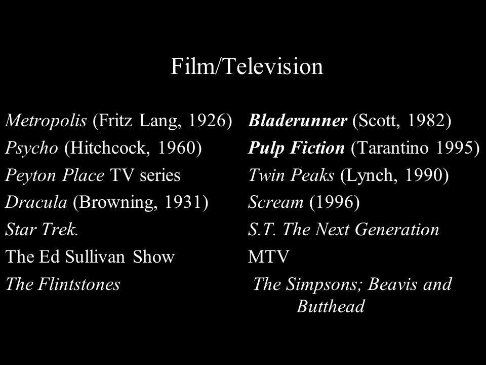 Film/Television Metropolis (Fritz Lang, 1926)Bladerunner (Scott, 1982) Psycho (Hitchcock, 1960)Pulp Fiction (Tarantino 1995) Peyton Place TV seriesTwin Peaks (Lynch, 1990) Dracula (Browning, 1931) Scream (1996) Star Trek.S.T.