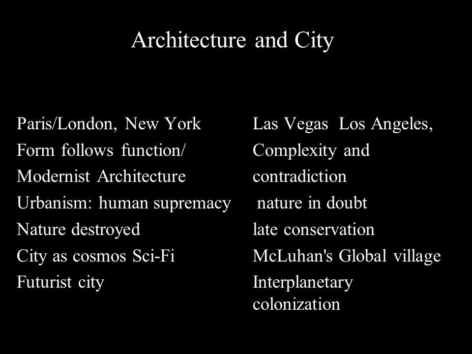 \ Architecture and City Paris/London, New York Las Vegas Los Angeles, Form follows function/ Complexity and Modernist Architecture contradiction Urbanism: human supremacy nature in doubt Nature destroyed late conservation City as cosmos Sci-Fi McLuhan s Global village Futurist city Interplanetary colonization