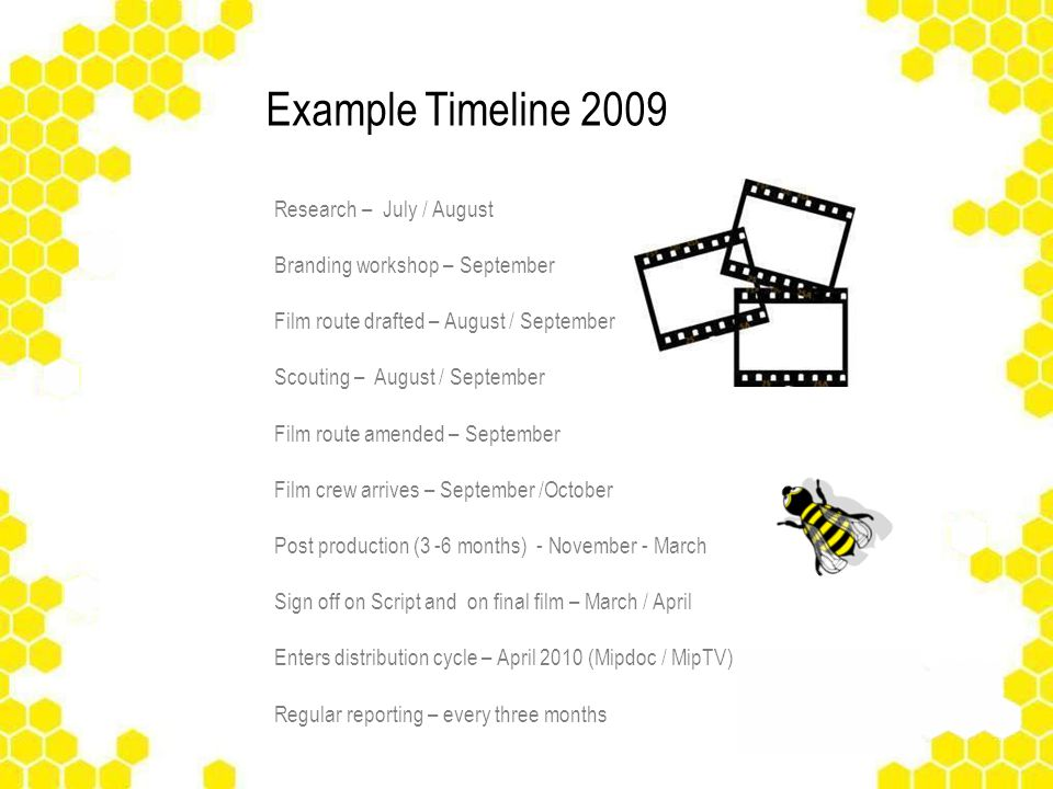 Example Timeline 2009 Research – July / August Branding workshop – September Film route drafted – August / September Scouting – August / September Film route amended – September Film crew arrives – September /October Post production (3 -6 months) - November - March Sign off on Script and on final film – March / April Enters distribution cycle – April 2010 (Mipdoc / MipTV) Regular reporting – every three months Acknowledgement in film credits