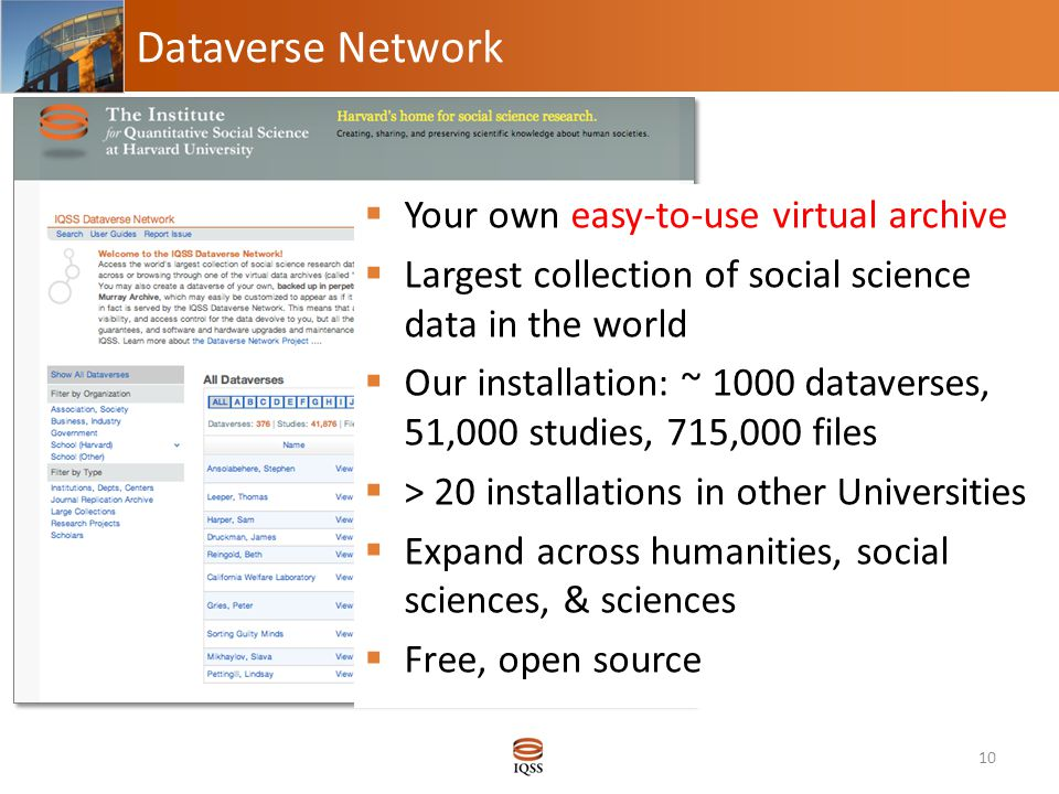 Dataverse Network 10  Your own easy-to-use virtual archive  Largest collection of social science data in the world  Our installation: ~ 1000 dataverses, 51,000 studies, 715,000 files  > 20 installations in other Universities  Expand across humanities, social sciences, & sciences  Free, open source