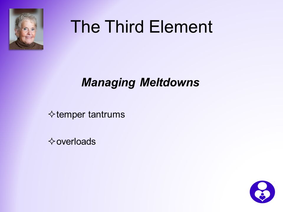 The Third Element Managing Meltdowns  temper tantrums  overloads