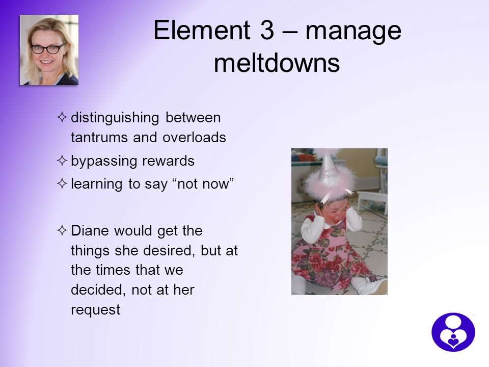 Element 3 – manage meltdowns  distinguishing between tantrums and overloads  bypassing rewards  learning to say not now  Diane would get the things she desired, but at the times that we decided, not at her request