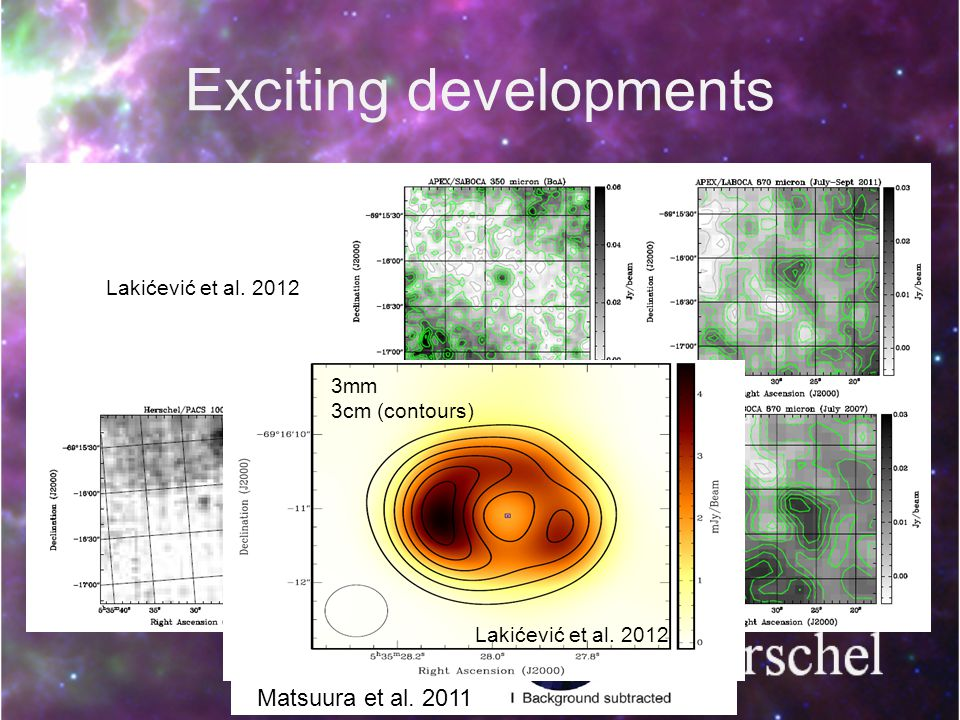 Exciting developments Detections by Spitzer and Herschel Detection at mm wavelengths Start to resolve the radio image Matsuura et al.