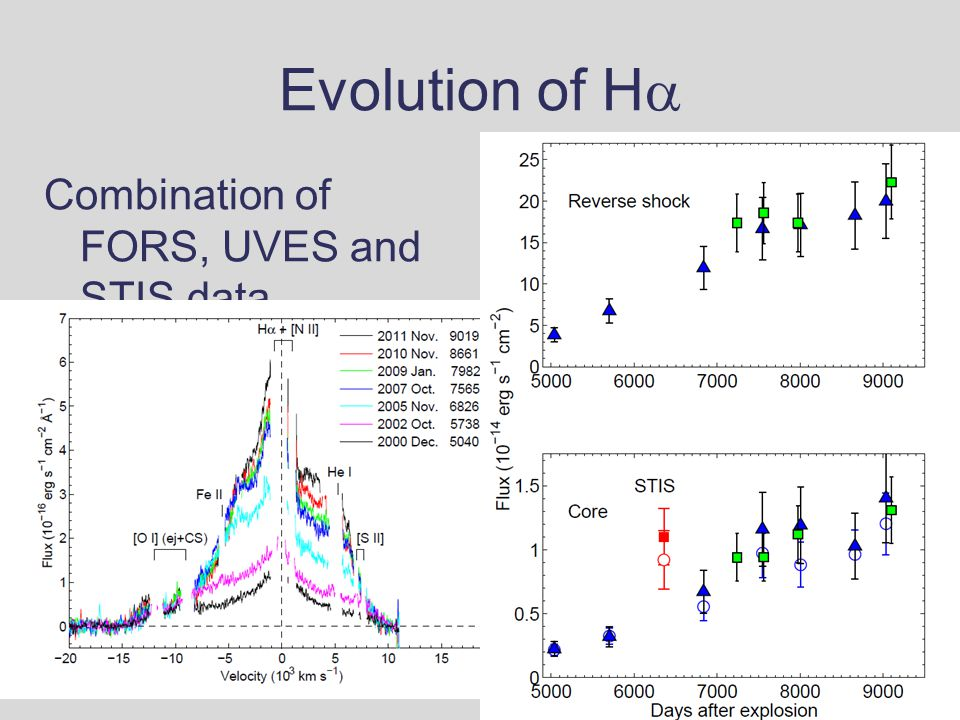 Evolution of H  Combination of FORS, UVES and STIS data
