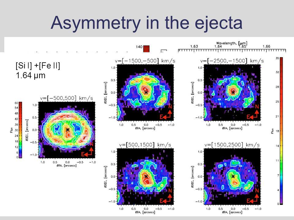 Asymmetry in the ejecta [Si I] +[Fe II] 1.64 μm