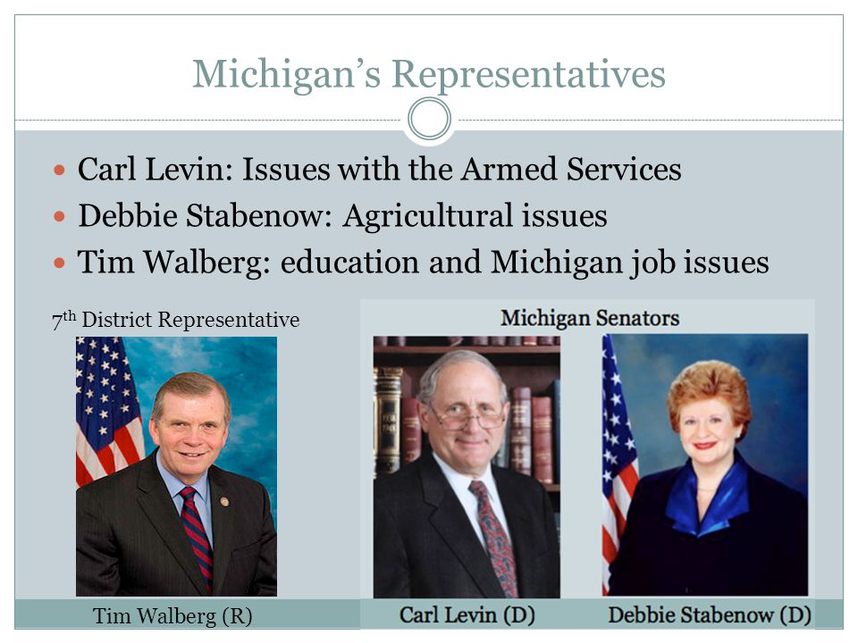 Michigan's Representatives Carl Levin: Issues with the Armed Services Debbie Stabenow: Agricultural issues Tim Walberg: education and Michigan job issues Tim Walberg (R) 7 th District Representative