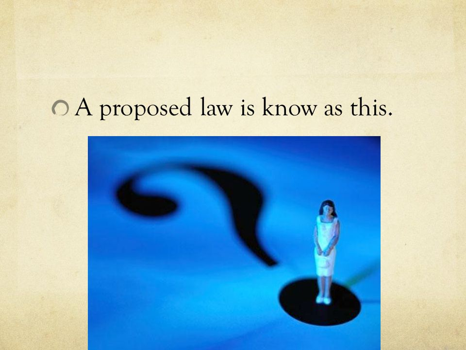 A proposed law is know as this.
