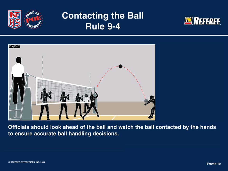 9 Caught and/or Thrown ( illegal contact signal) Over-control Multiple Contacts Under-control Spin is not illegal Player's (body) position or technique Recognizing & Contributing to the Match.
