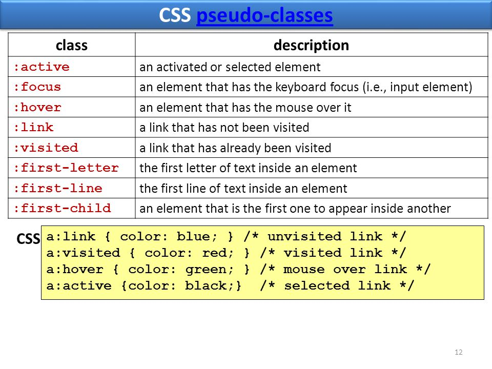 CSS pseudo-classespseudo-classes CSS pseudo-classespseudo-classes 12 classdescription :active an activated or selected element :focus an element that has the keyboard focus (i.e., input element) :hover an element that has the mouse over it :link a link that has not been visited :visited a link that has already been visited :first-letter the first letter of text inside an element :first-line the first line of text inside an element :first-child an element that is the first one to appear inside another a:link { color: blue; } /* unvisited link */ a:visited { color: red; } /* visited link */ a:hover { color: green; } /* mouse over link */ a:active {color: black;} /* selected link */ CSS