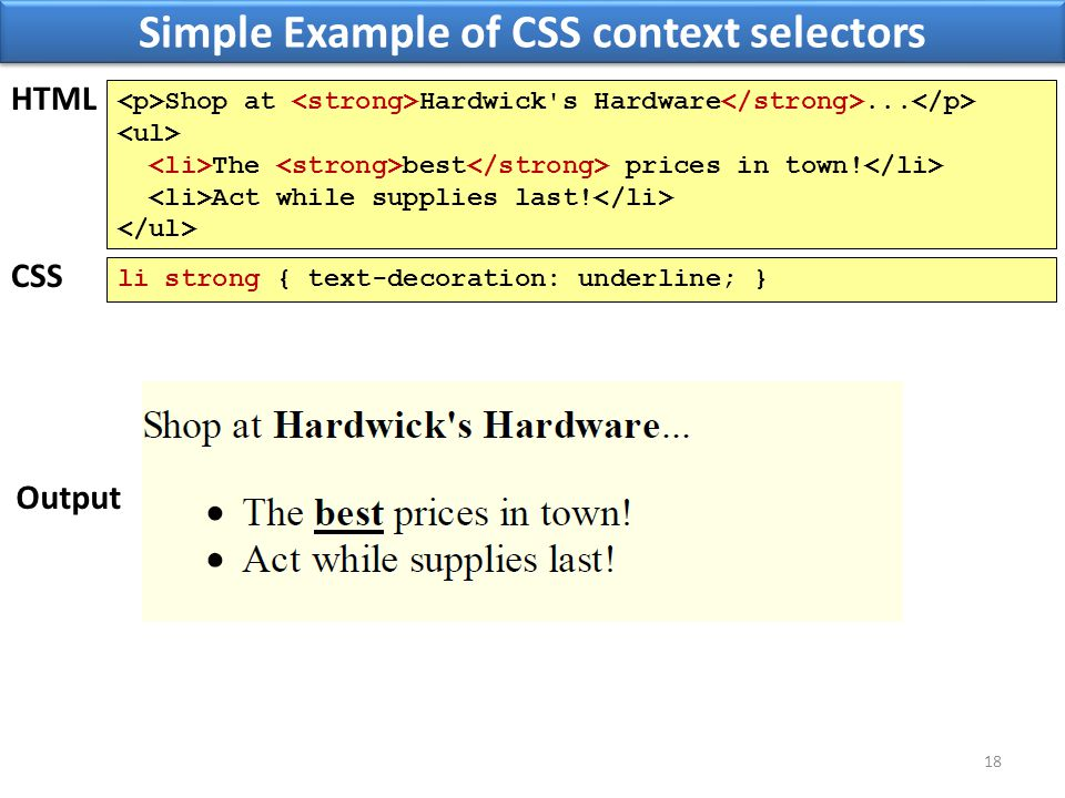 Simple Example of CSS context selectors 18 Shop at Hardwick's Hardware... The best prices in town! Act while supplies last! HTML Output li strong { te