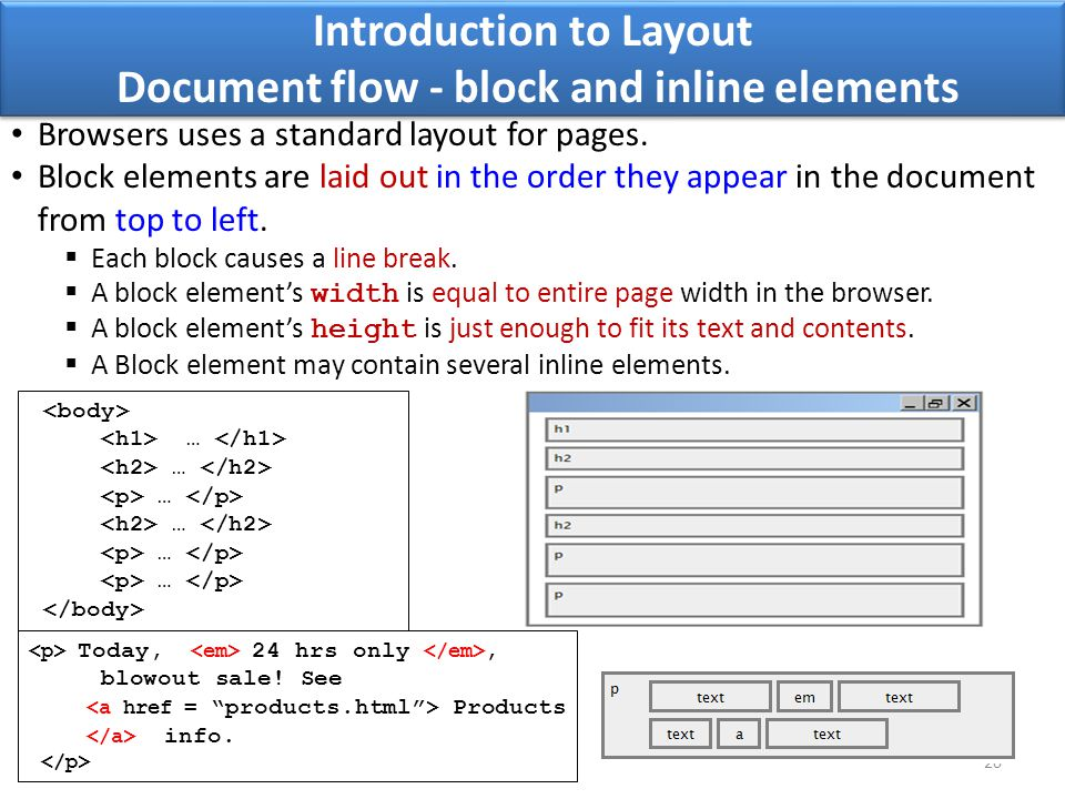 Introduction to Layout Document flow - block and inline elements 20 Browsers uses a standard layout for pages. Block elements are laid out in the orde