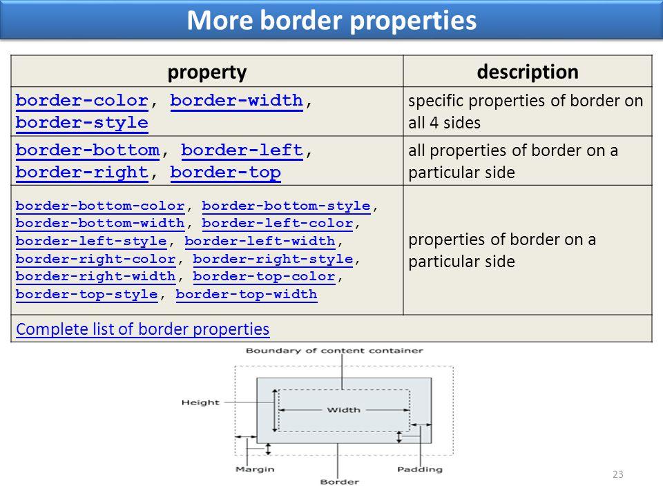 More border properties 23 propertydescription border-colorborder-color, border-width, border-styleborder-width border-style specific properties of border on all 4 sides border-bottomborder-bottom, border-left, border-right, border-topborder-left border-rightborder-top all properties of border on a particular side border-bottom-colorborder-bottom-color, border-bottom-style, border-bottom-width, border-left-color, border-left-style, border-left-width, border-right-color, border-right-style, border-right-width, border-top-color, border-top-style, border-top-widthborder-bottom-style border-bottom-widthborder-left-color border-left-styleborder-left-width border-right-colorborder-right-style border-right-widthborder-top-color border-top-styleborder-top-width properties of border on a particular side Complete list of border properties
