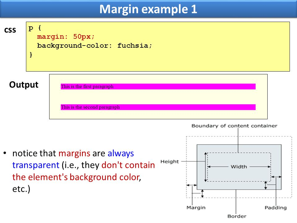 Margin example 1 30 p { margin: 50px; background-color: fuchsia; } notice that margins are always transparent (i.e., they don't contain the element's