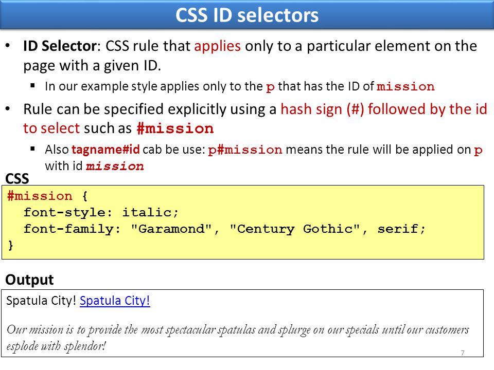 The HTML class attribute Spatula City.Spatula City.