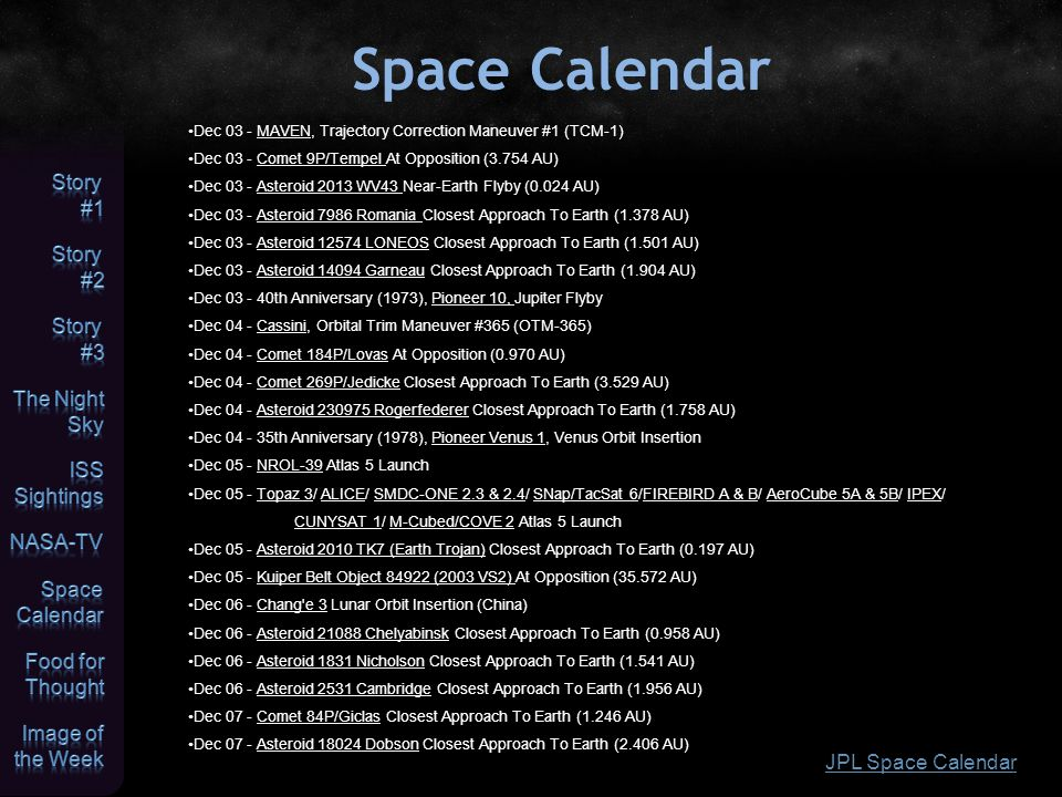 Space Calendar JPL Space Calendar Dec 03 - MAVEN, Trajectory Correction Maneuver #1 (TCM-1) Dec 03 - Comet 9P/Tempel At Opposition (3.754 AU) Dec 03 -