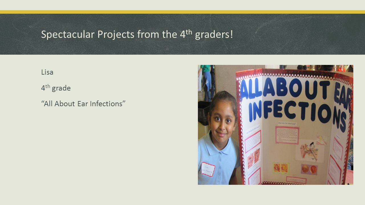 Spectacular Projects from the 4 th graders! Lisa 4 th grade All About Ear Infections