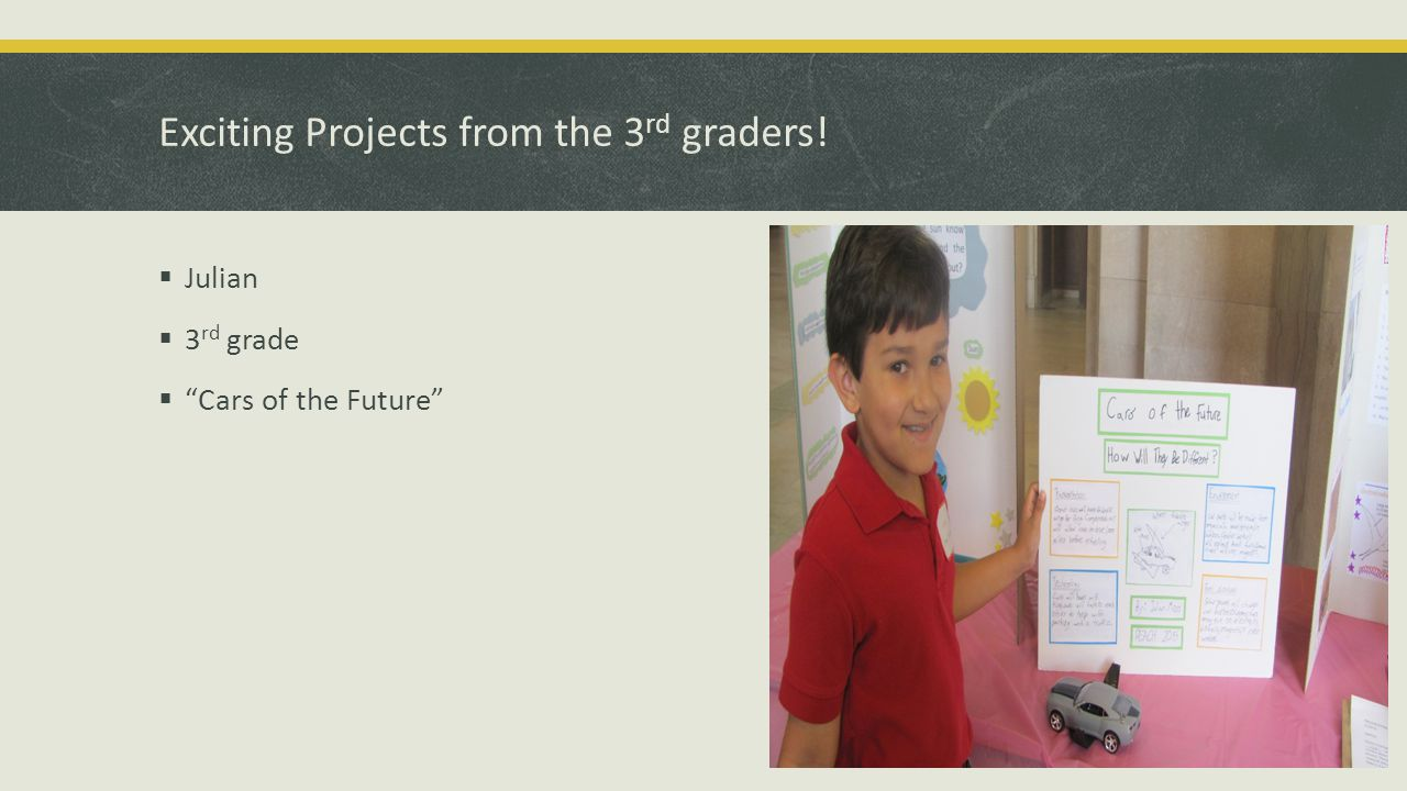 Exciting Projects from the 3 rd graders!  Julian  3 rd grade  Cars of the Future