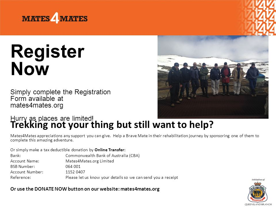 Register Now Simply complete the Registration Form available at mates4mates.org Hurry as places are limited.