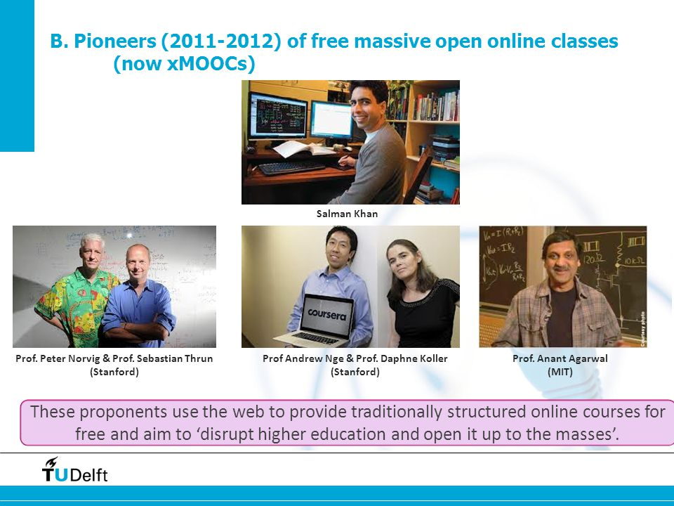 B. Pioneers (2011-2012) of free massive open online classes (now xMOOCs) Salman Khan Prof.