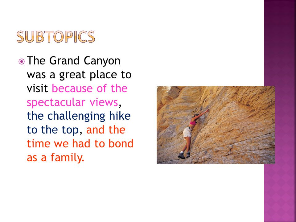  The Grand Canyon was a great place to visit because of the spectacular views, the challenging hike to the top, and the time we had to bond as a family.