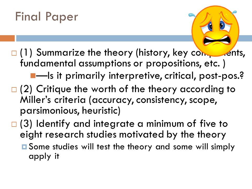 Final Paper  (1)Summarize the theory (history, key components, fundamental assumptions or propositions, etc.