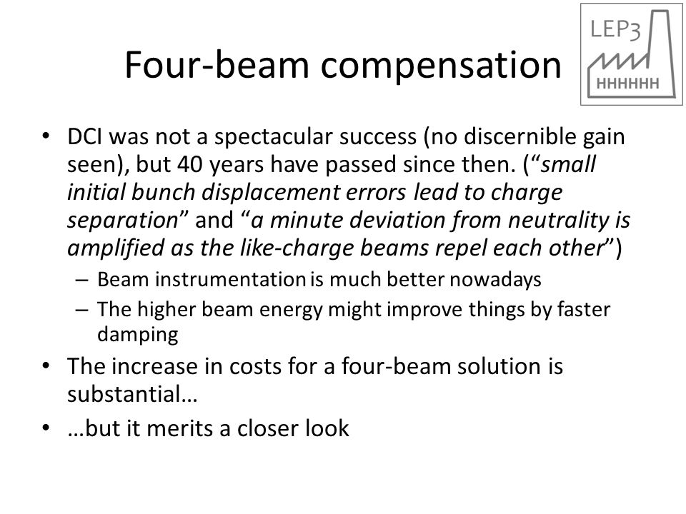 Four-beam compensation DCI was not a spectacular success (no discernible gain seen), but 40 years have passed since then.
